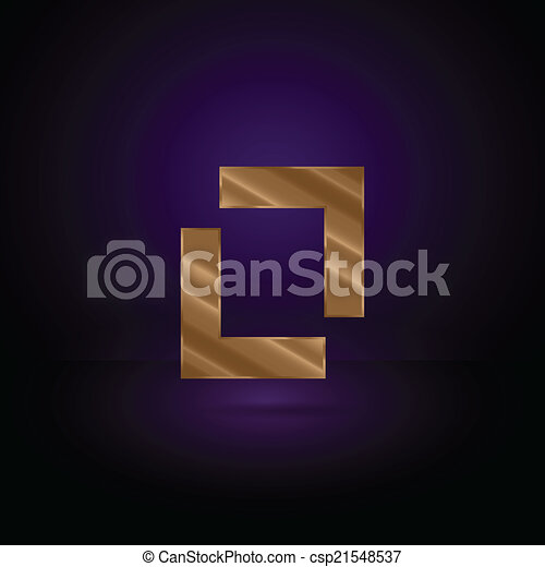Gold Metal Symbol Golden Metal Geometric Symbol On Dark Vectors