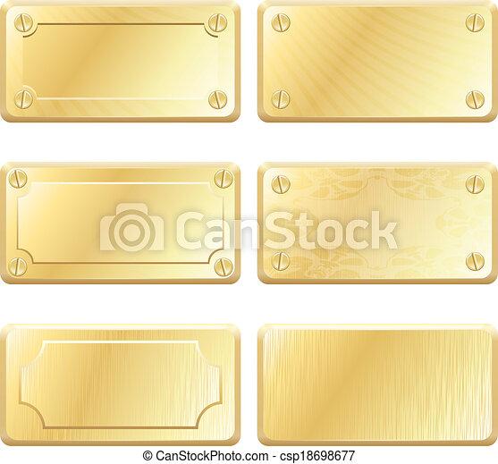Vector-Goldmetall-Etiketten - Namensschilder - csp18698677