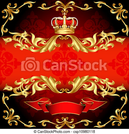 gold, muster, rahmen, korona, hintergrund, rotes  - csp10980118