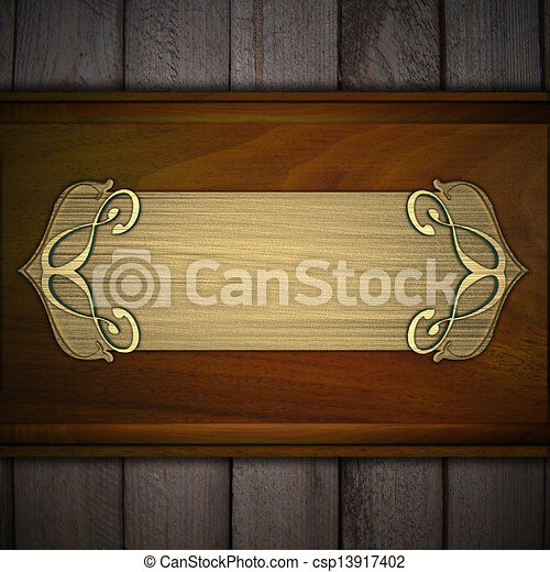 Gold Nameplate On A Wooden Background Design Template Stock Illustration Search Clipart