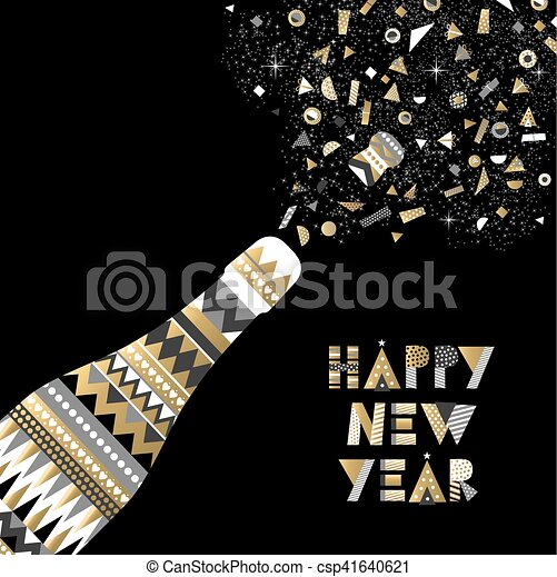 gold new year drink bottle fancy party celebration csp41640621