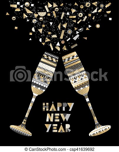 gold new year drink toast luxury party celebration csp41639692