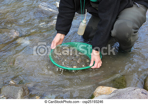 Gold Nugget mining from the River - csp25193246