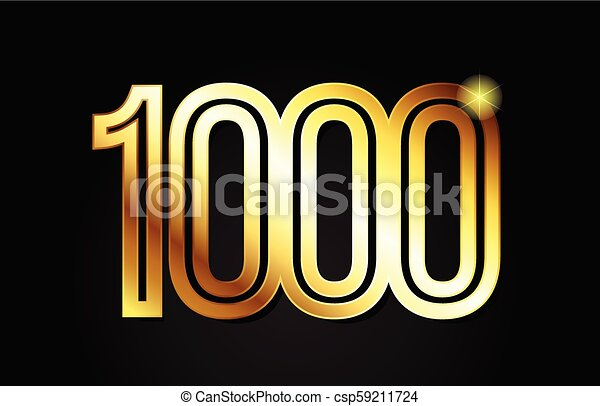 gold number 1000 logo icon design - csp59211724