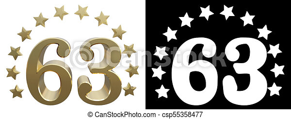 Gold Number Sixty Three Decorated With A Circle Of Stars 3d Illustration