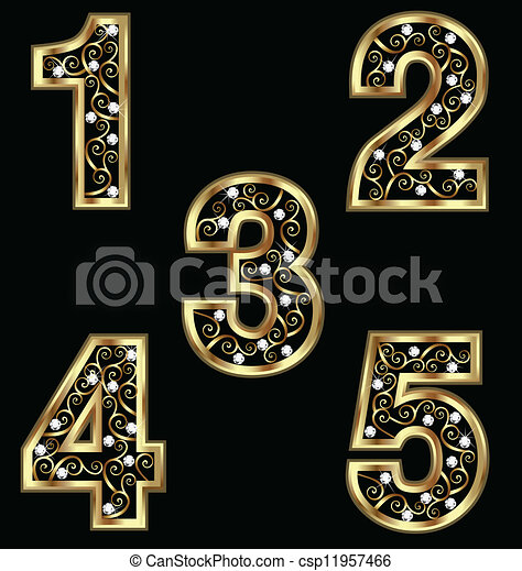 Gold numbers with swirly ornaments - csp11957466