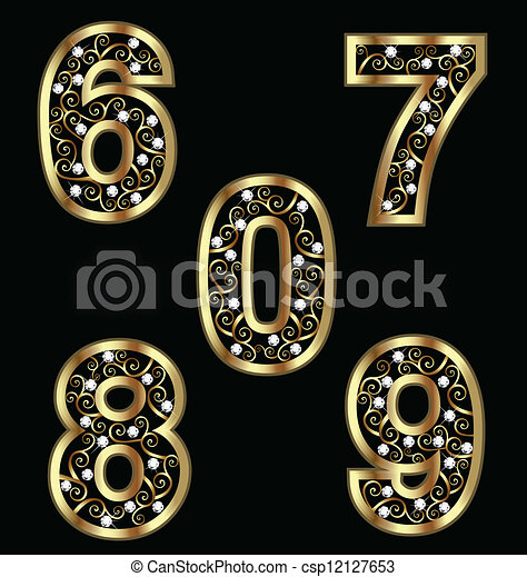 Gold numbers with swirly ornaments - csp12127653