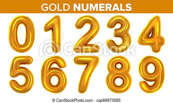 Gold Numerals Set . Golden Yellow Metal Letter. Number 0 1 2 3 4 5 6 7 8 9. Alphabet Font. Typography Design Element. Party Background. Foil Symbol. Bright Metallic 3D Realistic Illustration - csp69973585
