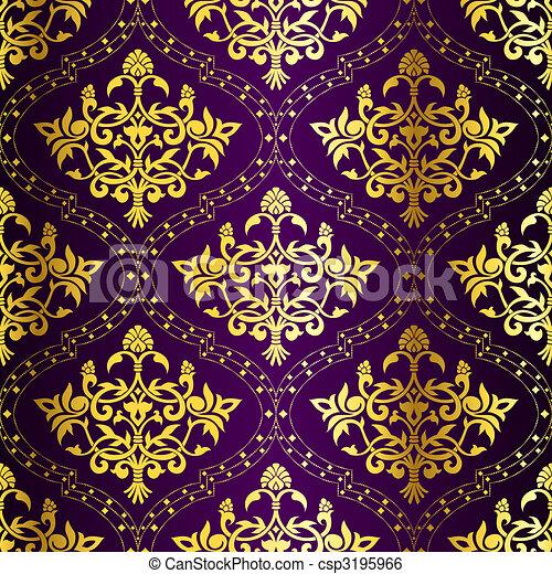 Gold on Purple seamless swirly Indian pattern - csp3195966