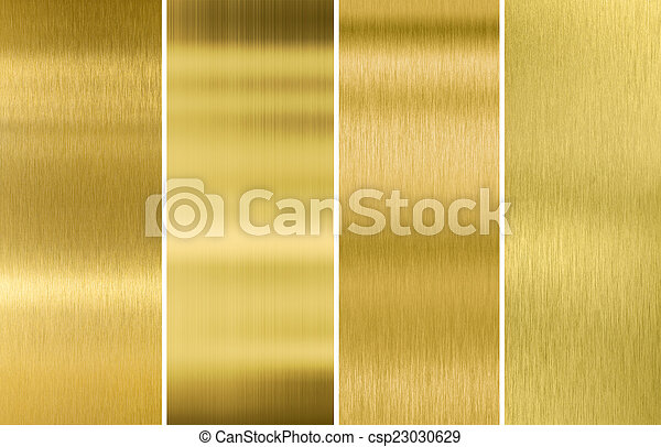 Gold or brass brushed metal texture backgrounds set - csp23030629