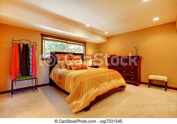 Gold orange large bedroom