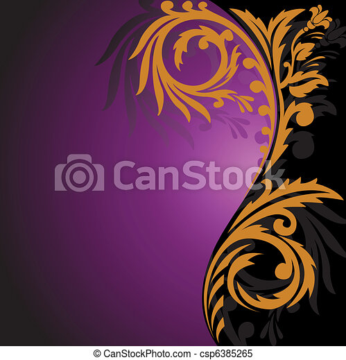 Gold ornament on a black and purple background - csp6385265