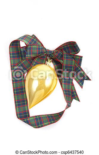 Gold Ornament on Plaid Ribbon on White - csp6437540