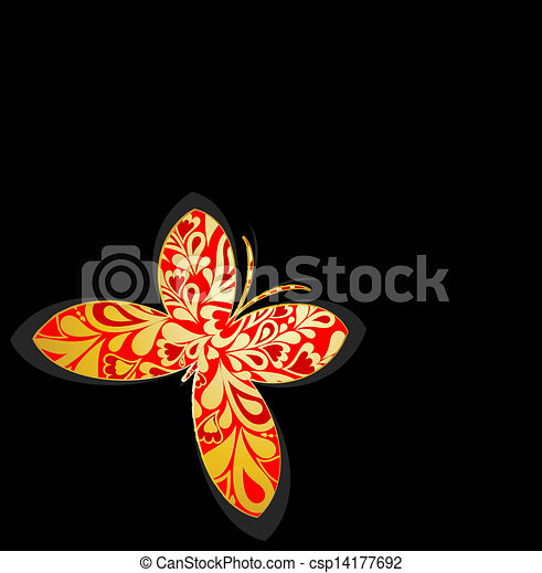Gold ornamental butterfly. Vector - csp14177692