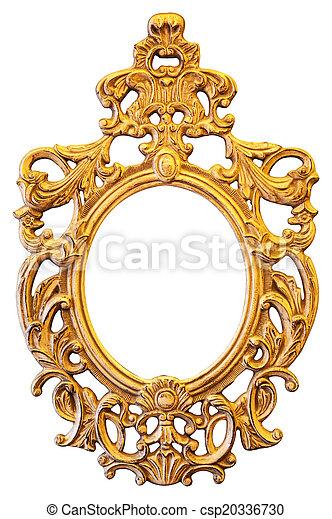 Gold ornate oval frame - csp20336730
