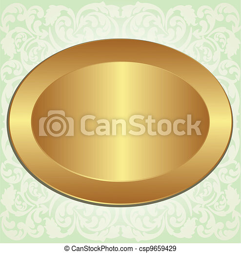Gold Oval Frame On Background With Floral Ornaments Eps Vectors