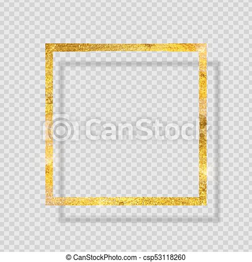 Gold Paint Glittering Textured Frame On Transparent Background Vector Illustration