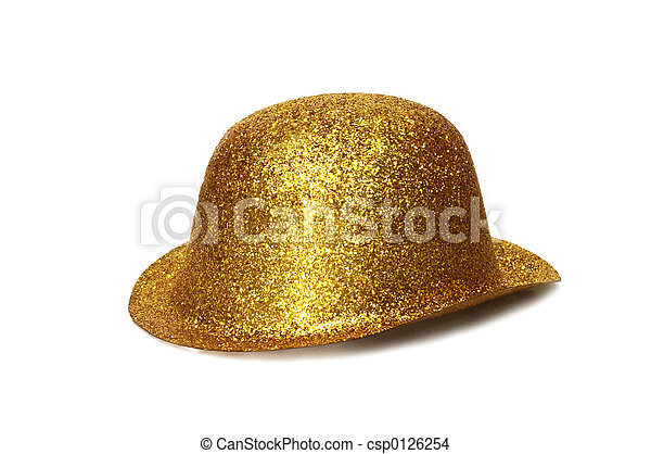 Gold Party Hat A Gold Glitter Party Hat Isolated On White Background