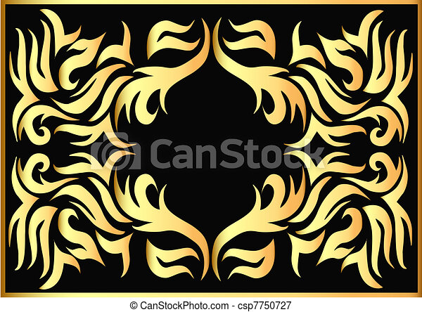 gold pattern on black background  - csp7750727