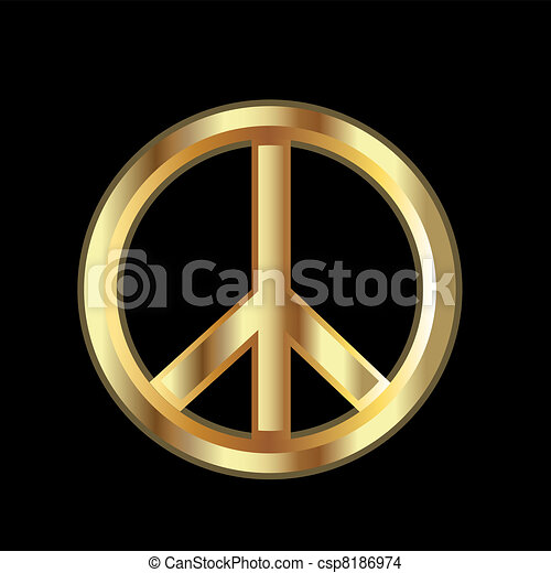 Gold Peace symbol - csp8186974