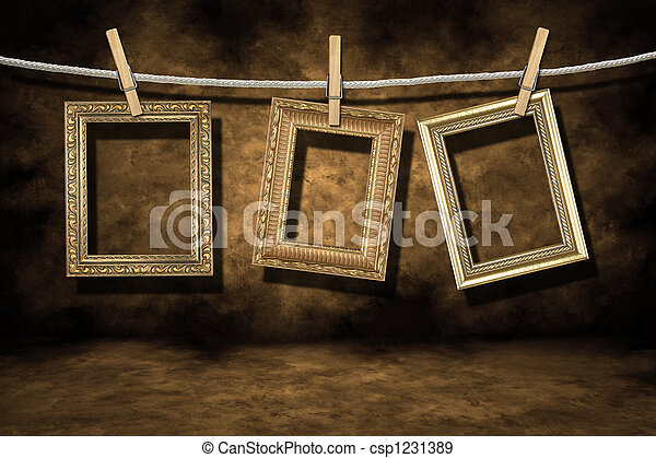 Gold Photo Frames on a Distressed Grunge Background - csp1231389
