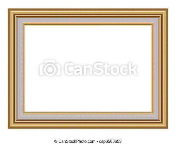 gold picture frame. isolated on white - csp6580653