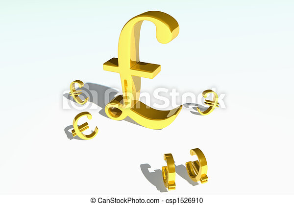 Gold Pound And Euro Symbols Gold Pound Symbol Looking Strong