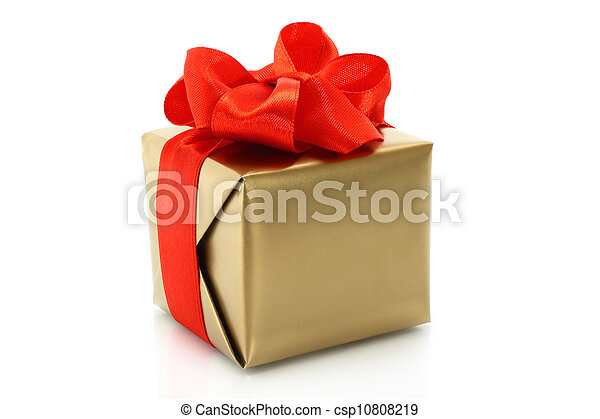 Gold present box with red bow on a white background - csp10808219