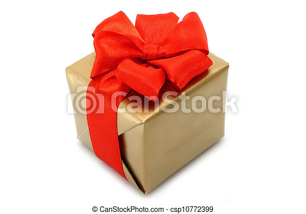 Gold present box with red bow on a white background - csp10772399
