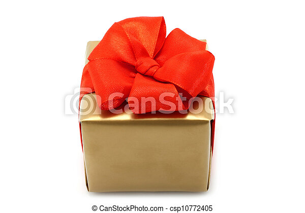 Gold present box with red bow on a white background - csp10772405