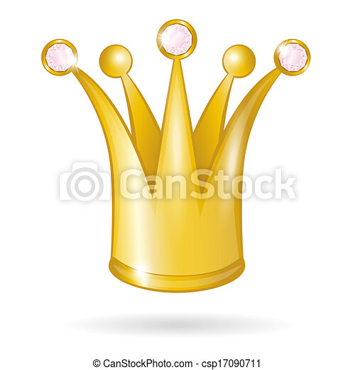 Gold princess crown isolated - csp17090711