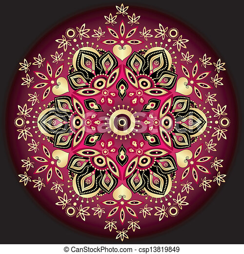 Gold-purple round pattern - csp13819849