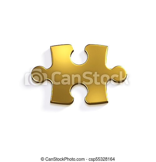Gold Puzzle Piece Of Jigsaw 3d Render Illustration