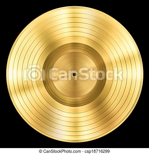 gold record music disc award isolated on black - csp18716299