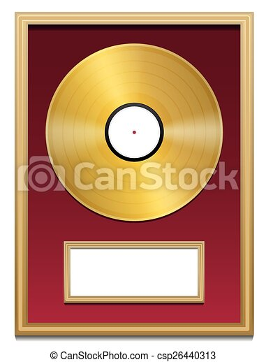 Gold record plaque blank frame. Gold record with blank plaque that ...