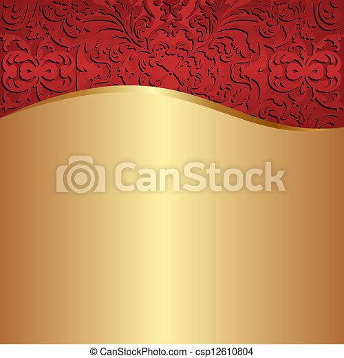 gold  red background - csp12610804