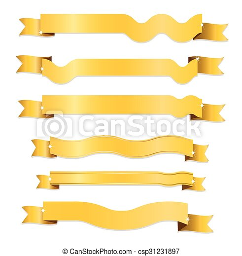 Gold ribbon on white background - csp31231897