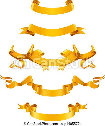 Gold ribbons, vector - csp14055774