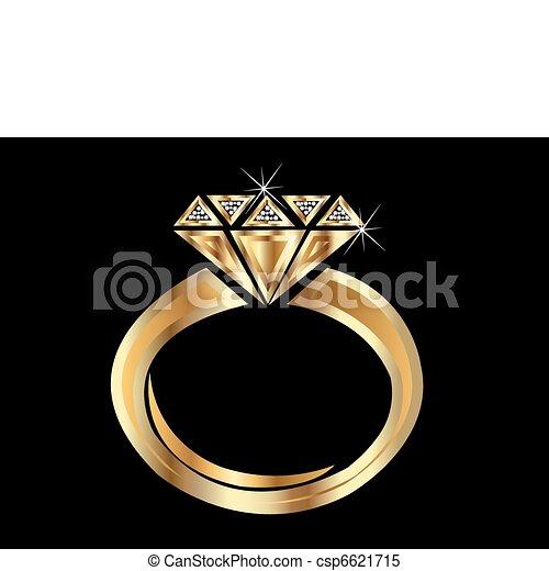 Gold ring Shiny golden diamond engagement ring vector eps clipart