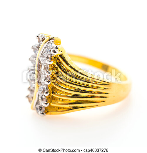 Beautiful luxury gold ring with jewelry diamond isolated on