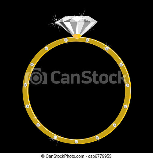 Gold ring with one large diamond and many small Expensive