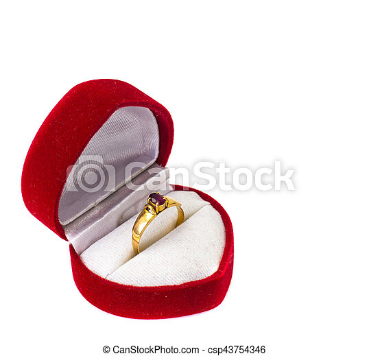 Gold ring with ruby - csp43754346