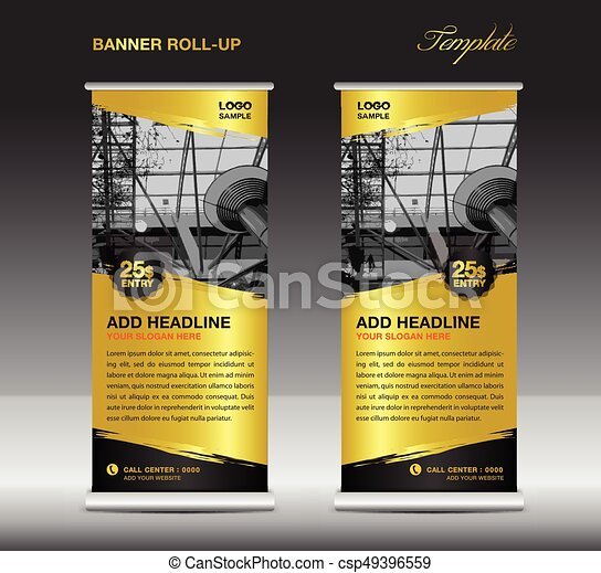 Gold Roll Up Banner Template Vector Roll Up Stand Banner Design Flyer Advertisement Polygon Background Poster