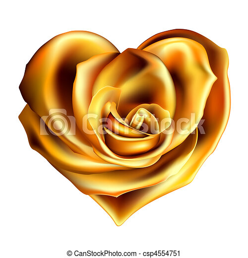 Gold Rose Heart Valentine Made With Flower