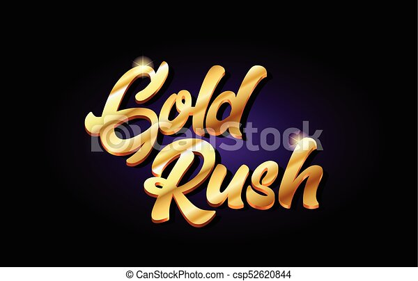 gold rush 3d gold golden text metal logo icon design handwritten typography