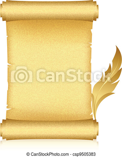 gold scroll and feather - csp9505383