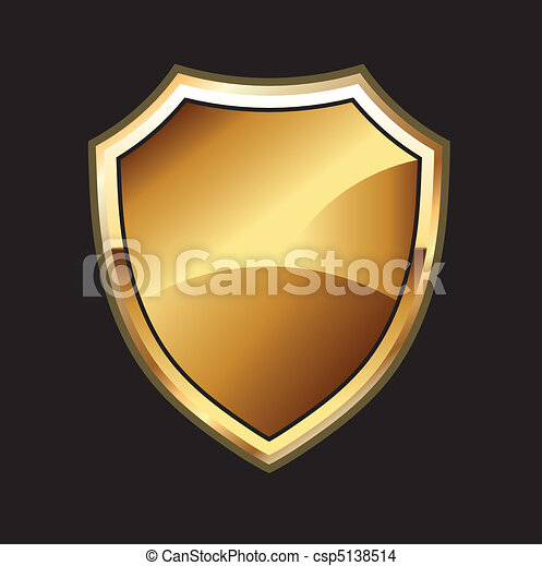 Gold Shield in black background - csp5138514