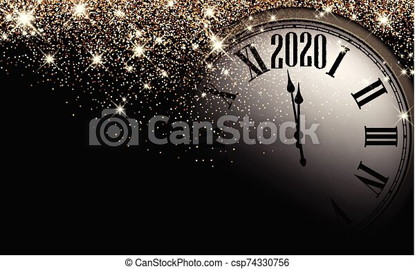 gold shiny 2020 new year background with clock greeting card black and gold shiny 2020 new year background with clock https www canstockphoto com gold shiny 2020 new year background with 74330756 html