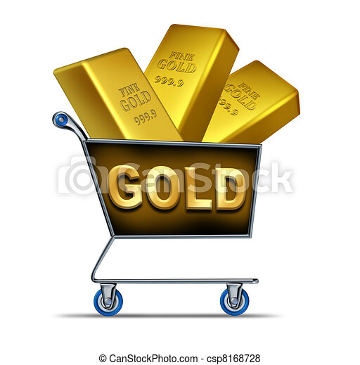 Gold Shopping Shopping For Gold Symbol Represented By A Shop Cart