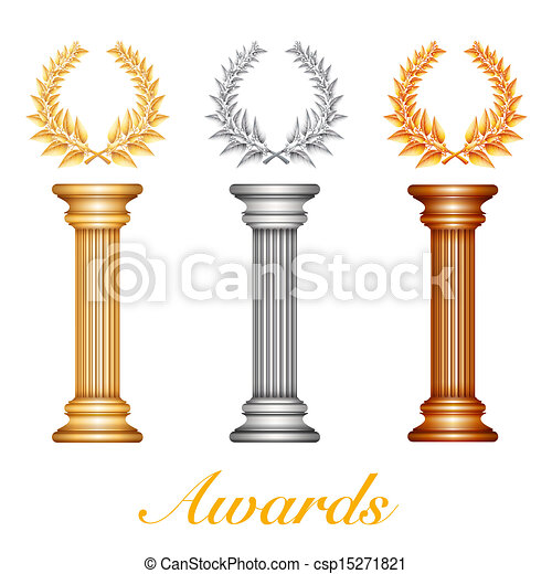 Gold silver and bronze award column with laurel wreath - csp15271821